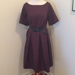 NWOT Plaid boatneck belted knee length dress.
